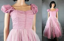 50s Prom Dress XS Vintage Long Pink Tulle Strapless Cap Sleeve Convertible Gown