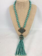 statement Heidi Daus Faux Turquoise Crystal Chinese Japanese Pendant  Necklace