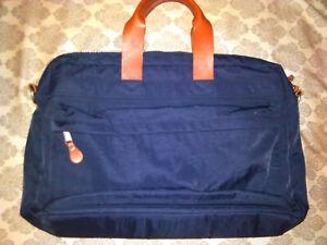J CREW MARWICK Soft briefcase shoulder bag Navy nylon/leather Men woman laptop