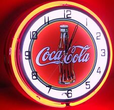 "Vintage 18"" COCA COLA Metal Sign Neon Wall Clock Night Light Retro 1030's Bottle"