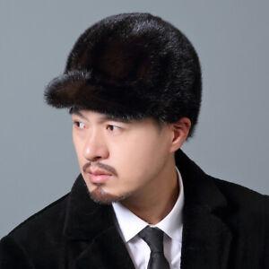 Winter men Real Mink Fur Hat Headgear Beanie Beret Cap