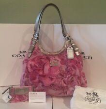 Coach Madison 19642 Pink Floral Rose Maggie Hobo Shoulder Bag & NWT Wristlet