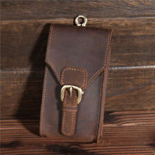 Men Vintage Genuine Cow Leather  Pouch Belt Waist Bag Hook Phone Travel