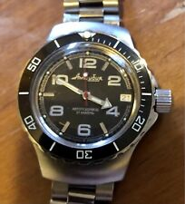 Vostok Amphibian 060433 Military Russian Diver Watch on solid-link bracelet