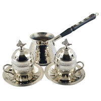 Copper Turkish Greek Arabic Coffee Espresso Set with Pot Cups Saucers