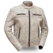 First-Mfg-Mens-Warrior-Heavy-Leather-Biker-Jacket- Oil Sand