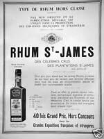 PUBLICITÉ 1933 TYPE DE RHUM HORS CLASSE ST JAMES PAR SON ORIGINE ET FABRICATION