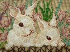 Pink Iris Bunny Rabbit Frence -Vtg PREWORKED Needlepoint Canvas PETIT POINT Cute