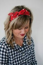Dolly Bow, Red Bandana, Rockabilly Wire Headband Flexible Pin Up