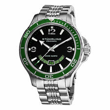 Stuhrling Original Men's 270B.33115 Pioneer Swiss Quartz Date Green Bezel Watch