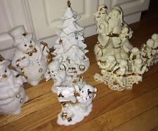Grandeur Noel - Porcelain Snowman Family Figurine Set & Santa Candle holder Set