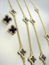 18kt Gold Plated Black Lacquer Enamel Clover Clovers Long Necklace Earrings Set