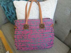 DOONEY & BOURKE PINK PRINT DENIM LEATHER LARGE TOTE BAG