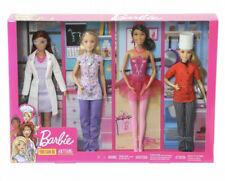 Barbie Pack de 4 Muñecas Barbie Profesionales doctora, químico, bailarína, chef