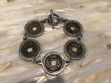 """Vintage Asian Coin Sterling Silver .925 Bold Bracelet 7.5"""""""