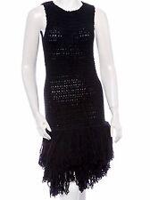Christian Dior Black Knit Sleeveless Dress With Fringe Wool/Alpaca SZ. FR38 US6