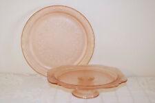 Indiana Glass PINK RECOLLECTION Madrid Depression Pedestal Cake Plate & Platter