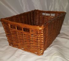Wicker Storage Basket wooden VERY sturdy will hold over 35 lbs Rectangular
