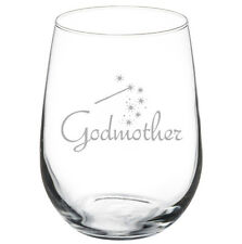 17oz Stemless Wine Glass Godmother