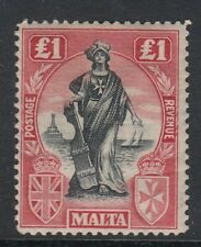 MALTA 1922 SG139  £1.00 BLACK AND SCARLET - lightly mounted mint