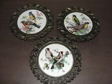 3 1950s era Small Antique Frames Gold Metal Birds Round E.A. Riba Co. NY Vintage
