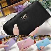 Women Leather Zipper Wallet Long Clutch Bow Purse Card Holder Handbag Phone Bag