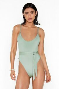 Nasty Gal Women's Green high Legs For Days Belted Swimsuit Size 10