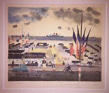 Sébire Gaston Lithographie signée art plage mer bateau Calvados Normandie