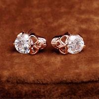 Women Fashion Rose Gold Tone Crystal Diamond Skull Pierced Stud Earrings Jewelry