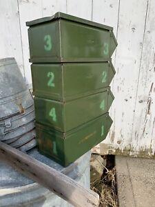 Lot Of 4 Vintage Green Industrial Metal Storage Bin StackBins Rustic 1 2 3 4