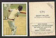 AUSTRALIA 1982 SCANLENS CRICKET STICKERS SERIES I - GEOFF MILLER (ENGLAND) # 171