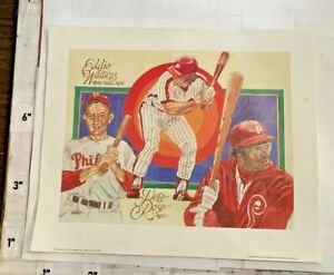 1983 Perez-Steele Philadelphia Phillies Print Pete Rose Eddie Watkins Dick Allen