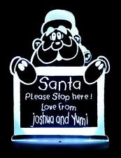 SANTA PLEASE STOP HERE DECORATION PERSONALISED NAME LED NIGHT LIGHT 13 COLOUR'S