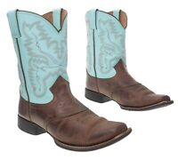 JUSTIN Cowboy Boots 4.5 Youth Square Toe LEATHER Western Rodeo ROPER Boots Kids