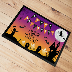 Happy Halloween Door Mat floor mat Trick Or Treat 60 x 40 cm Purple & Orange
