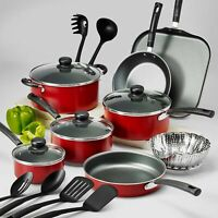 18 Piece Non-Stick Cookware Set Red Tramontina PrimaWare Dishwasher Safe New