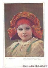 POSTCARD Czech Moravian girl in folk costume by MUTTICH Nase Deti red shawl #7