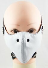 White Punk Spike Half Face Mask Biker Motorcycle Rave Rock Cool Unisex Leather