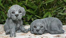 sculpture en pierre chiots Set chien de Décoration jardin résistant au gel