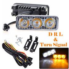 2 LED Daytime Running Lights Car Driving DRL Fog Lamp Light 12V Amber White 3LED