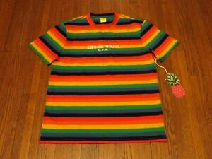 Guess Jeans Sean Wotherspoon Farmers Market Rainbow Striped T-Shirt sz L