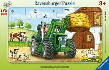 Traktor auf dem Bauernhof. Rahmenpuzzle 15 Teile (Game)