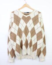 Ralph Lauren Mens Argyle Print Alpaca Wool Blend Drop Shoulder Jumper Sweater XL