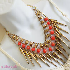 """Gothic Punk Style Coral Bead Gold Tone Spike Rivet Chain Necklace 46cm 18"""" ~2186"""