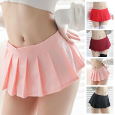 Womens Ladies Pleated Mini Skirt Schoolgirl Micro Short Dress Cosplay Skirt