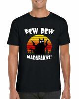 Pew Pew Madafakas T-Shirt, Funny Joke Cat Retro Vintage Unisex Adults Tee Top