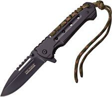 Tac Force Black Assisted Open Plain Edge Tactical Knife with Paracord Lanyard