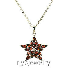 Genuine Garnet Star-shaped Pendant Necklace with Sterling Silver Chain 18""