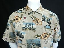 AFTCO Bluewater Mens Button Down Floral Hawaiian Shirt Swordfish Postcards Med
