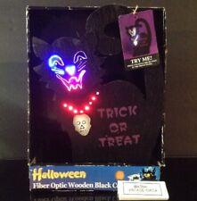 "RARE Vintage Halloween BLACK CAT Fiber Optic LIGHT 13"" Jack O Lantern Lamp NEW"